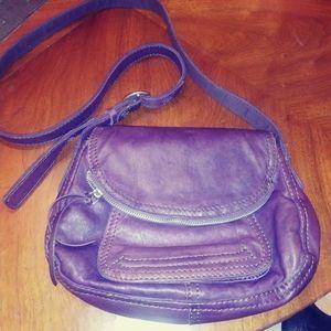 Lucky Brand leather, plum purse crossbody.